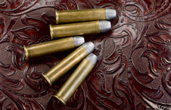 45-60 brass riffle bullets. Royalty Free Stock Photo