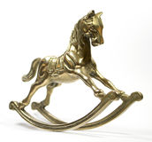 Brass Rocking Horse on White Background Stock Image