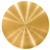 Brass round metal plate or disk. Isolated Royalty Free Stock Photos