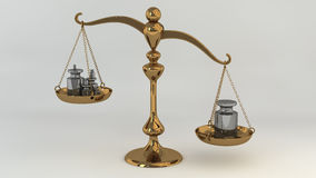 Brass scale with masses on cups. Brass scale with iron masses on cups. Quality versus quantity Royalty Free Stock Image