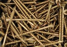 Brass screws. Closeup photograph of brass screws Royalty Free Stock Photography