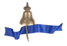 Brass ship's bell with a blue banner Stock Images