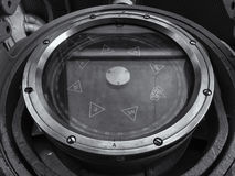 Brass ship's compass on a dark background Stock Images