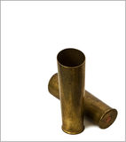 Brass sleeves with distortion on white background Stock Images