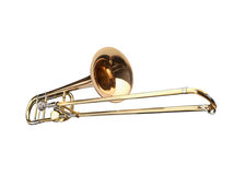 Brass slide trombone. On a whithe background stock image