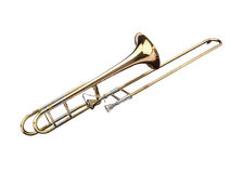 Brass slide trombone. On a whithe background stock images