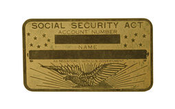 Brass Social Security Card Stock Photo