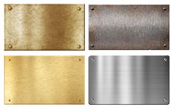 Brass, steel, aluminum metal plates set. Isolated on white royalty free stock image