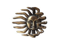 Brass sun. Isolated over white background royalty free illustration