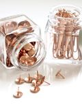 Brass Thumbacks in White Glass Container Stock Photography