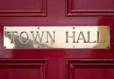 Brass Town Hall sign. Stock Photography