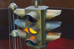 Brass traffic light as decoration Stock Image