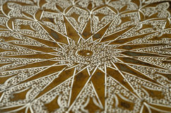Brass Tray Close up. Close up of a old engraved brass tray Royalty Free Stock Image