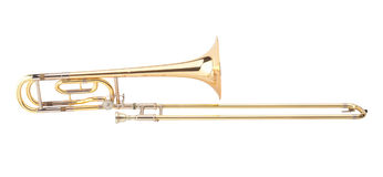 The brass trombone. One of the music instrument of the orchestra royalty free stock photography