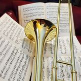 Brass Trombone and classical music 15 Stock Photo
