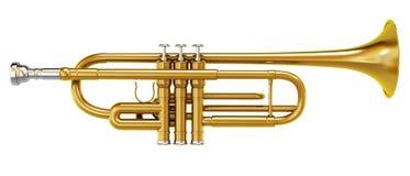 Brass trombone isolated on white background. Brass shiny trombone isolated on white background royalty free illustration