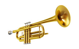 Brass trombone isolated on white background Stock Photography