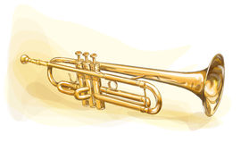 Brass Trumpet. Illustration. Watercolor imitation royalty free illustration