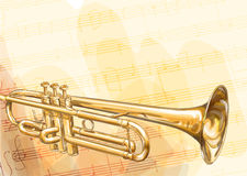 Brass Trumpet. Brass Trumpet on musical background. illustration Royalty Free Stock Photos