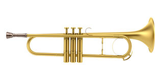 Brass trumpet isolated on white Royalty Free Stock Images