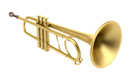 Brass trumpet isolated on white Royalty Free Stock Photo