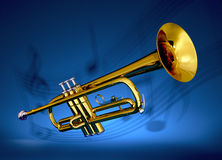 Brass trumpet with musical backdrop. Polished brass trumpet on with musical notes projected against blue backdrop Royalty Free Stock Image