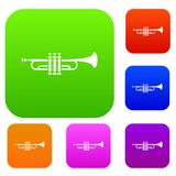 Brass trumpet set collection Royalty Free Stock Image