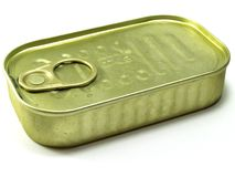 Brass tuna can. Food can on a white background stock photography