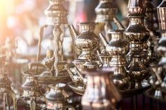 Brass utensils shop, Kathmandu market, Nepal. Brass utensils shop with handicrafts and souvenirs in Kathmandu market, Nepal Stock Photography