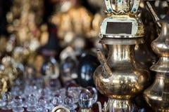 Brass utensils shop, Kathmandu market, Nepal. Brass utensils shop with handicrafts and souvenirs in Kathmandu market, Nepal Stock Photos