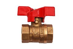 Brass Valve with red handle Royalty Free Stock Photography