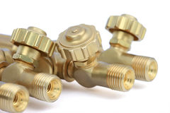 Brass valves Stock Photo