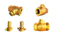 Brass valves on isolated Stock Image