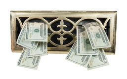 Brass Vent Full of Money Stock Image