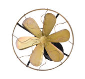Brass vintage electric fan. Brass vintage wall electric fan on white background Stock Image