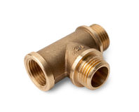 Brass water-pipe tee Royalty Free Stock Photos