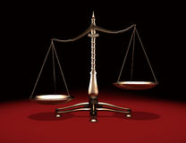 Brass Weight Scales. Biased brass weight scales Law and Justice symbol Isolated on black red background Stock Photo
