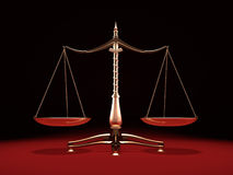 Brass Weight Scales. Balanced brass weight scales Law and Justice symbol Isolated on black red background Royalty Free Stock Image