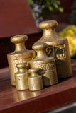Brass weights Stock Image