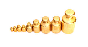 Brass weights to scales Royalty Free Stock Photos