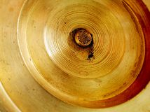 Brass wheel or disc, close-up stock images