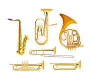 Brass Wind Orchestra Musical Instruments. Isolated on white, Vector Illustrations vector illustration