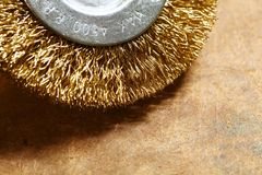 Brass wire brush for electric power drill part. royalty free stock images