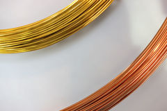 Brass wire and copper wire Stock Photo
