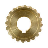 Brass worm gear with keyhole Royalty Free Stock Images