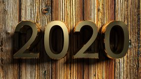 2020 brass write on raw wood - 3D rendering Royalty Free Stock Image