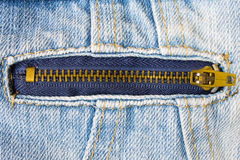 Brass Zip on Jeans Jacket Stock Images