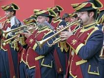 Brassband à un cortège à Cordoue, Espagne Photo stock