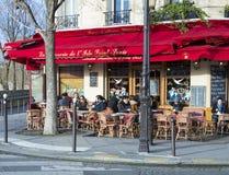 The brasserie de l'ile saint Louis, Paris, France. Paris, France-January 09; 2016 : The brasserie de l'ile saint Louis with unidentified clients sitting down on Royalty Free Stock Photos