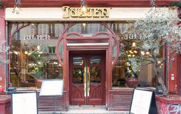 Brasserie Julien is historical monument of Paris .It was founded in 1903. Paris, France-March 21, 2018 :Located right in the heart of Paris, a stone s throw Royalty Free Stock Images